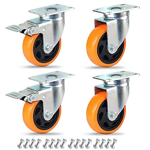 """Anyke 4 Zoll Drehgelenk Gummi-Rollen 2200 LBS Heavy Duty Rollen mit Bremse Gummi PU Räder Sicherheit Dual Verriegelung für Einkaufswagen Set von 4, 4\"""" Orange Double Bearings, 4"""