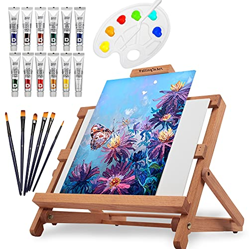 Falling in Art Easel Set Adjustable Table Easel Starter Kit with Acrylic Painting Tubes, Canvas Panels, Brushes, Palettes, and More