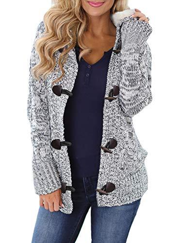 Aleumdr Strickjacke Damen Grobstrick mit Kapuze gefüttert Zopfmuster Cardigan Outwear Langarm für Herbst Winter Strick M