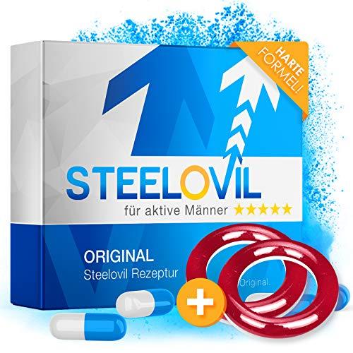 *NEU* STEELOVIL - Das Natürliche Potenzmittel mit der Einzigartigen Stiff-Power Formel I NEUTRALE LIEFERVERPACKUNG I 4 Hochdosierte Inhaltsstoffe (rot + rot)