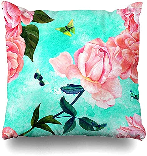 Vintage Flowers in Pnce Style Blue Beige Classical Square Decorative Throw Pillowcase Two Sides Printed, Fashion Style Zippered Cushion Pillow Cover 18 x 18 inch-Multi-17