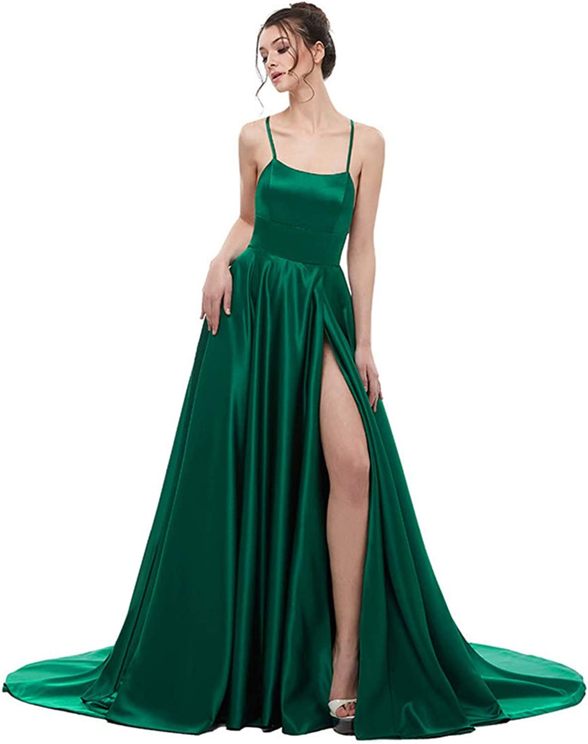 Green Evening Dress A Line Satin with Spaghetti Straps Long Prom Party Dress Side Split Evening Gowns
