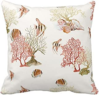 Coral Ocean Beach Angel Fish Watercolor Striped Throw Pillow Case 18