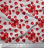 Soimoi Grau Seide Stoff Himbeere, Erdbeere und Kirsche Obst
