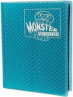Monster Binder - 4 Pocket Trading Card Album - Holofoil Aqua Blue- Holds 160 Yugioh, Magic, and Pokemon Cards