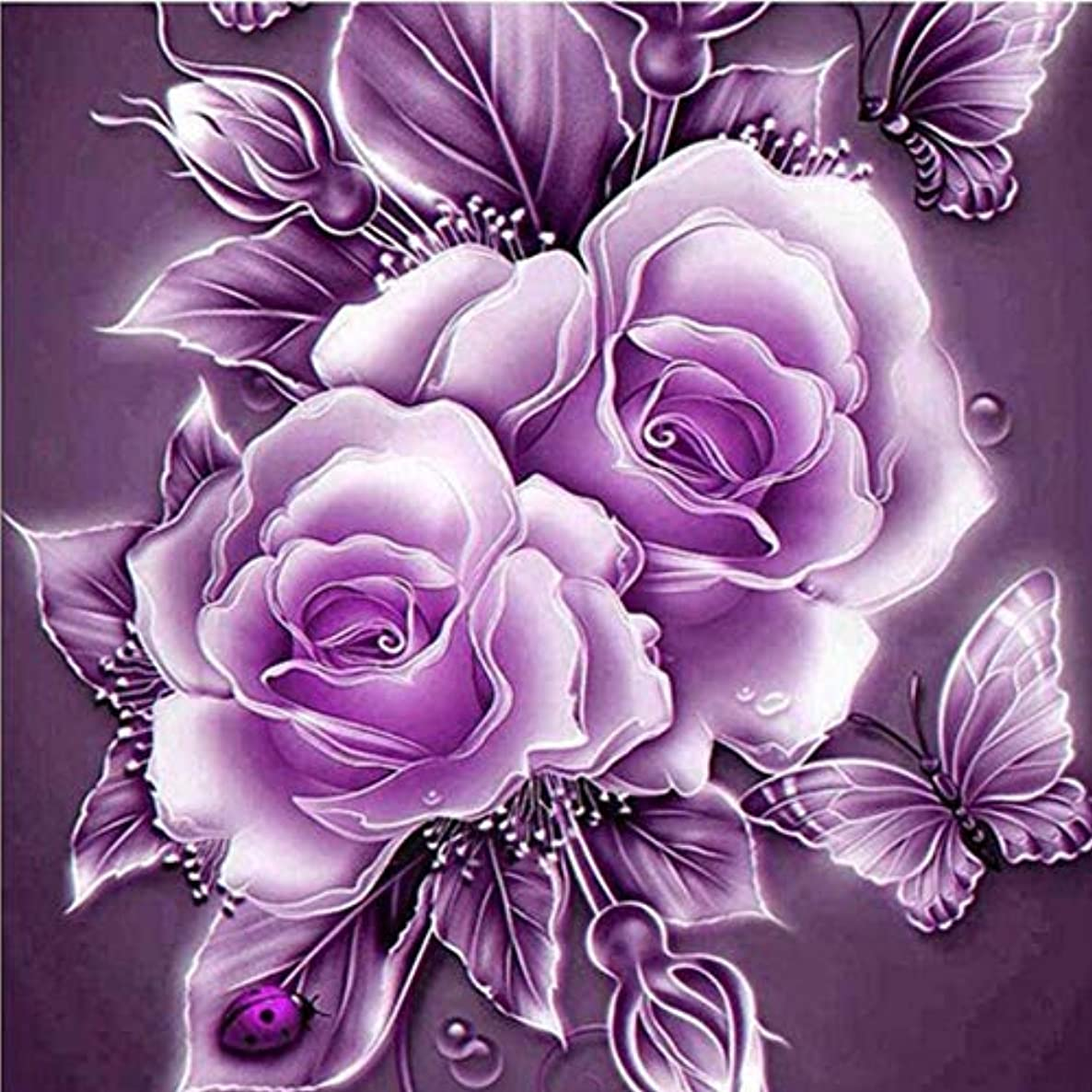 Wowdecor 5D Crystal Diamond Painting with Diamonds Kits, Retro Rose Red Flower & Butterfly, Full Drill DIY Diamond Dotz Embroidery Crafts Graphy Art