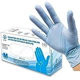 Guantes de Nitrilo Sin Polvo - Talla M - AQL 1.5 Guantes Desechables Ambidiestros Reciclables. Ideales para Uso de Alimentos, Limpieza, Bricolaje, Belleza, Industrial y Sanitario. Color Azul