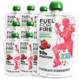 Fuel For Fire VEGAN - Chocolate Strawberry Smoothies (12 pack) Ready-to-Drink Squeeze Pouch   Soy Free, Lactose Free, Dairy Free, Plant-based Pea Protein, Vegan, Gluten Free   On the Go
