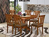 East West Furniture AVON7-SBR-C Wood Dining Table Set- 6 Great Wood Chairs - A Stunning Round Wooden Table- Linen Fabric seat and Saddle Brown Finish Butterfly Leaf Pedestal Dining Table
