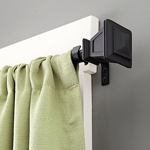 Kenney Kenney - Barra para cortina de ventana de Sevilla, 71 a 122 cm, color negro mate