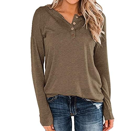 N\P Camiseta de manga larga de punto de color sólido con cuello redondo para mujer