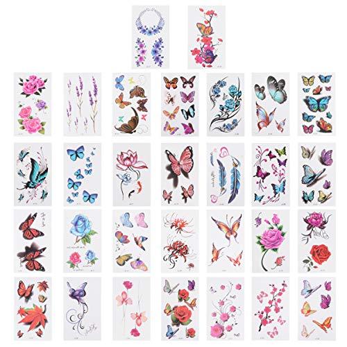 Lurrose 60 Feuilles Autocollants de Tatouage de Fleur Papillon Autocollants pour Le Corps Auto-Adhésif Corps Tatouages ??Autocollant Temporaire Étanche
