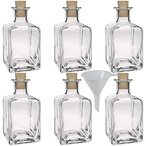 Viva Haushaltswaren - Juego de Botellas de Cristal pequeñas (con tapón de Corcho 6 Unidades 200 ml rellenables Incluye...