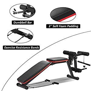 Wesfital Adjustable Weight Benches, Utility Workout Bench Strength Training Bench Incline/Decline for Home Gym