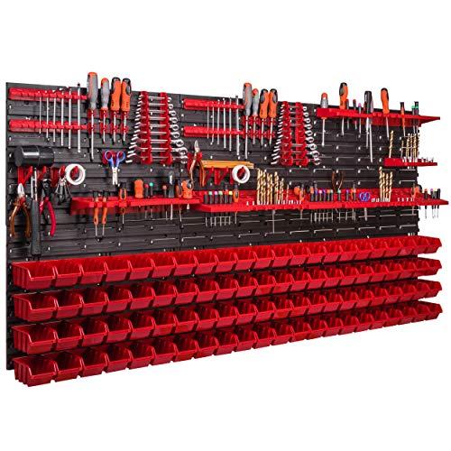 88 Stapelboxen 170x78cm Wandregal Werkzeugwand Werkzeughalter Lagersystem Kunststoff Schüttenregal Sichtlagerkästen, extra starke Wandplatten, Regal erweiterbar, Werkstattregal Lagerregal Werkstattwan