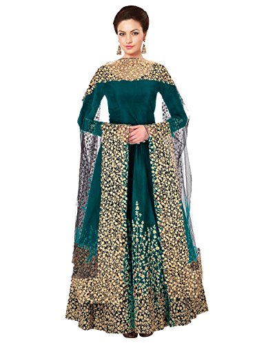 F4style New Firoji Long Embrodered Semi Stitched Designer Anarkali Suit...
