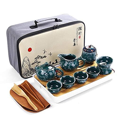 N&G Daily Equipment Portable Tea Set Travel Tea Set Stone Grain Glaze Set Ceramic Business Real Estate Insurance Opening Customizable Logo-Marbled 9-Head Tea Set-Green