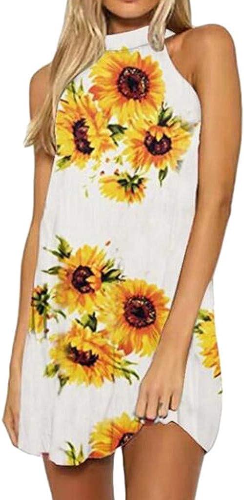 Toeava Women Dresses, Women's Fashion Sunflower Print Summer Sleeveless Beach Short Dress T-Shirt Mini Tunic Tank Dress