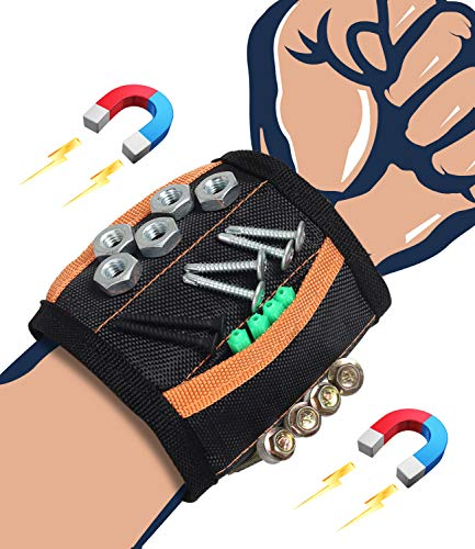 Magnetic Wristband Tools Gifts for Men Dad Husband Boyfriend Him, Cool Gadgets Magnetic Belts with Strong Magnets for Holding Screws, Nails, Drill Bits, Father's Day Birthday Gifts