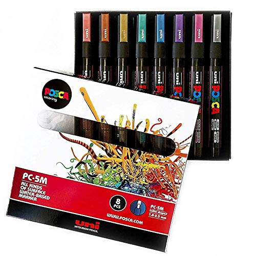 POSCA Colouring - PC-5M Metallic Set of 8 - In Gift Box