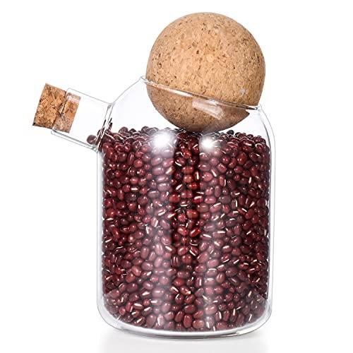 MXMA Tarro de cristal con tapa redonda con cierre de corcho y tapa de madera, organizador de bola, botella de almacenamiento de vidrio, tarro de almacenamiento