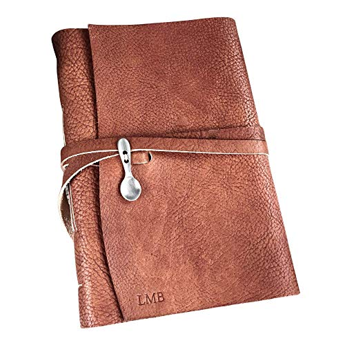 Personalized Blank Rust Leather Recipe Book to Write in   You choose Paper   Choose a Refillable or...