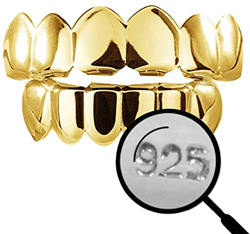 Harlembling Solid 925 Sterling Silver Real Grillz - 14k Gold Plated - Custom Top & Bottom Grills for Teeth - Real Solid Silver NOT Brass