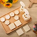 2 Pieces Moon Cake Mold Cutter DIY Mooncake Press Mold and 10 Pieces Square Cookie Press Stamp, Round Cookie Press Cake Stamp, Flower Pattern Cake Mold for Mid Autumn Festival DIY Decoration