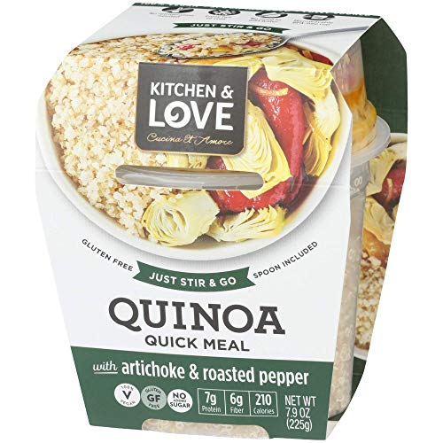 Kitchen & Love Artichoke & Roasted Peppers Quinoa Quick Meal 6-Pack | Vegan, Gluten-Free, Ready-to-Eat, No Refrigeration Required