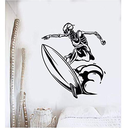 Surfing In The Sea Vinilo Pared Calcomanía Ocean Surfer Esqueleto Tabla de surf Decortipn Beach Style Rebovable Stickers Mural 66 * 56Cm