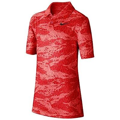 Nike Junior's Dry Print Sport Polo (University Red, Medium)