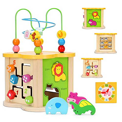Baby Toys Small Activity Cube 6-in-1 Play Center Wooden Bead Maze Animal Shape Sorter Learning Montessori ToysBaby Toys 6 12 9 18 Month Infant 1 2 Year Old Toddler Kids Boy Girl First Birthday Gift