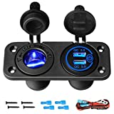 Upgraded 12V Marine USB Outlet Socket Panel with LED, 2 in 1 Cigarette Lighter Socket & QC 3.0 Dual USB Ports with Touch Switch, Waterproof 12 Volt Charger Panel for Car Marine Vehicle Motorcycle ATV