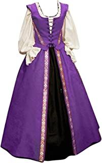 Kstare Women's Gothic Victorian Long Sleeve Medieval Dress Renaissance Costume Retro Gown Halloween Cosplay Costumes