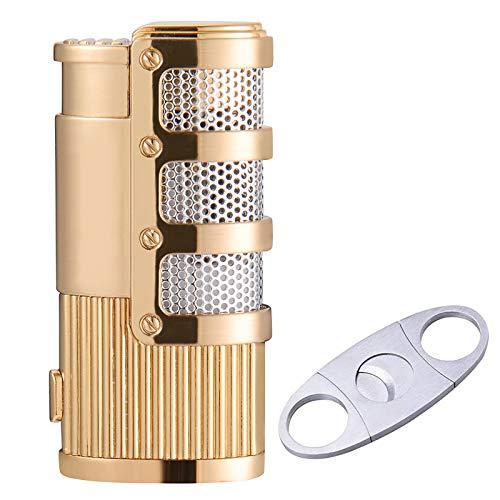 Cigar Cutter and Lighter Set, Cigar Punch Lighter Triple Jet Flame Butane Cigarette Torch Lighter (Black)