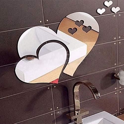 3D Espejo Amor Adhesivo de pared Calcomanías calcomanías DIY Salón Creativo Adhesivo de pared Estilo Moderno Home Art (2 Juegos)