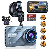 "Dual Dash Cam Car Camera - Contain 32GB SD Card,Full HD 1080P Dash Camera for Cars,4""IPS Screen Dual Wide Angle Lens Car Dash Camera,G-Sensor,Cycle Recording"