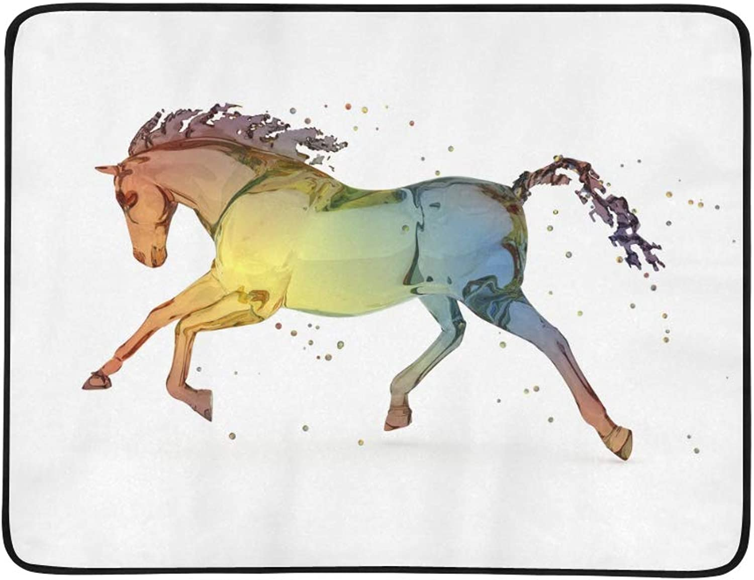 Rainbow Water Running White Horse in Flowers Pattern Portable and Foldable Blanket Mat 60x78 Inch Handy Mat for Camping Picnic Beach Indoor Outdoor Travel