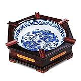 Aiglen Cenicero de cerámica con base de madera maciza hexagonal antiguo clásico de escritorio clásico