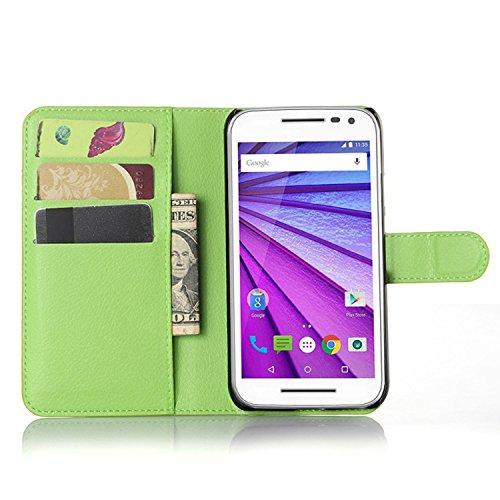 Ycloud Tasche für Motorola Moto G 3 Generation Hülle, PU Ledertasche Flip Cover Wallet Hülle Handyhülle mit Stand Function Credit Card Slots Bookstyle Purse Design grün
