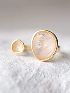 Double Stone Simulated Rose Quartz Open Circle Light Pink Ring