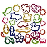 Play Dough Clay Mold Press Cutters - Assorted Shapes - Art and Craft Accessories - 24 Piece Set