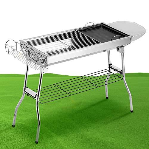 JKLJKL Outdoor-Holzkohlegrill Full Set von Werkzeugen Edelstahl Barbecue Grill beweglichen Falte Heim Picknick-Ofen BBC,Silber