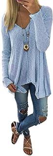 neveraway Women Fall Winter Irregular V Neck Plus-Size Long Sleeve Tees Top