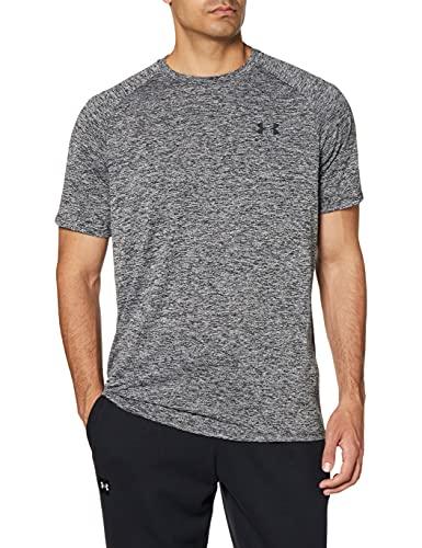 Under Armour Tech 2.0 Shortsleeve, atmungsaktives Sportshirt, kurzärmliges und schnelltrocknendes Trainingsshirt mit loser Passform Herren, Black / Black , L