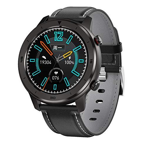 TOHHOT Electrónica DT78 Smart Watch Sports Smartwatch Fitness Pulsera B1.3inch Pantalla táctil Completa 230mAh Batería IP68 Monitor de Salud a Prueba de Agua Banda de Cuero Negro