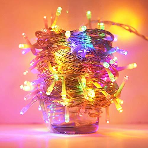 ANKOUJA Lichterkette LED Innen Außen für Weihnachtsbaum IP44 Bunt Lichterkette Strombetrieben Verbindlich 100 leds Memory Funktion 8 Lichtereffekte für Weihnachten