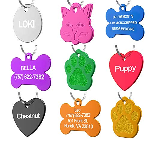 Dr. Fremont's Pet ID Tag Custom for Dog Cat Personalized | Many Shapes and Colors to Choose from | Made in USA | Strong Anodized Aluminum