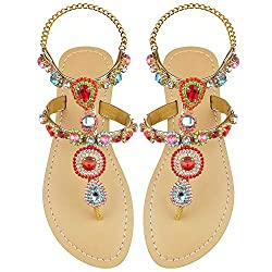 Red Rhinestones Gladiator Flat Sandal With Ankle Strap