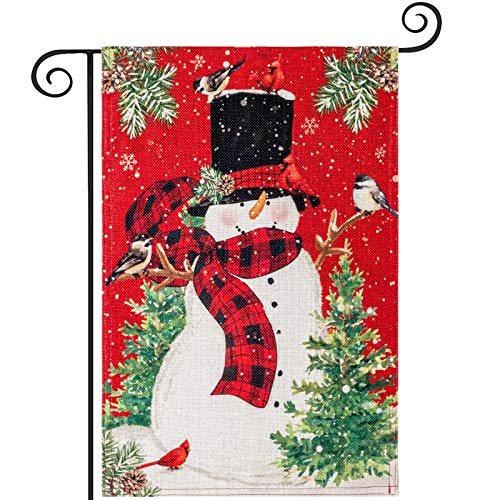 YEAHOME Christmas Garden Flag, Winter Yard Flag with Snowman, Christmas Tree, Double Sided Holiday Christmas Lawn Outdoor Indoor Xmas Decoration 12.5 x 18 Inch